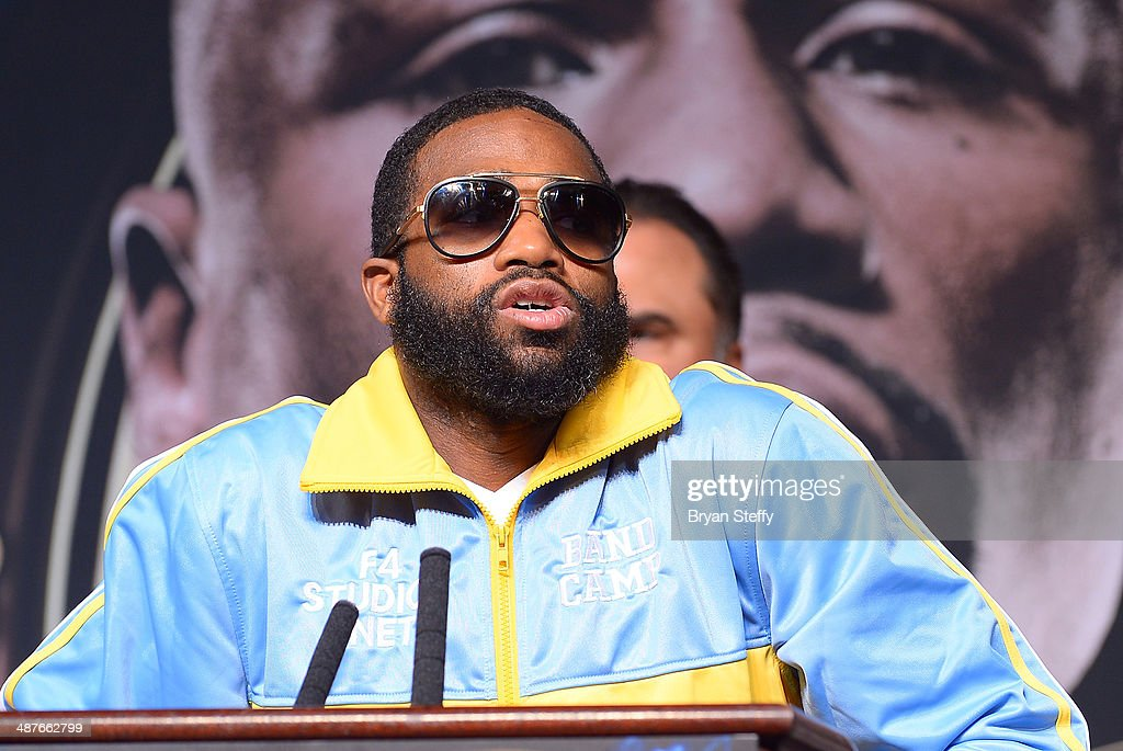 Boxer Adrien Broner speaks onstage during the undercard final press conference at the MGM Grand Hotel/Casino on May 1, 2014 in Las Vegas, Nevada.