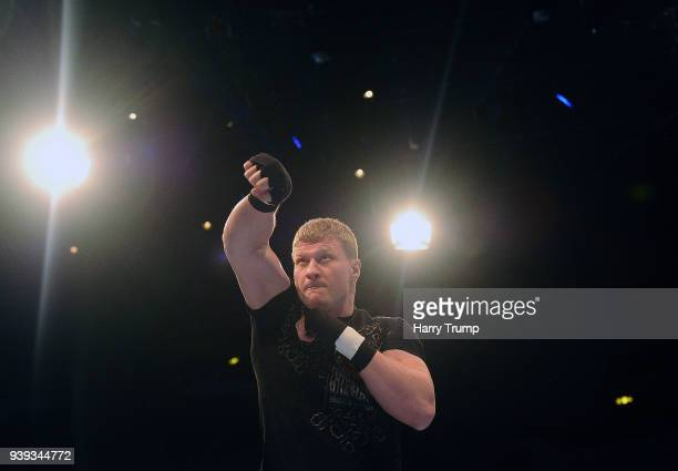 Boxer Alexander Povetkin works out during Anthony Joshua And Joseph Parker Media Workouts at St David's Hall on March 28 2018 in Cardiff Wales
