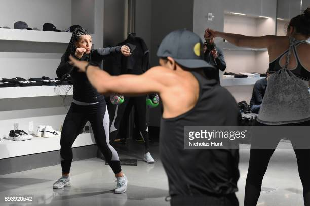 Boxer Alicia The Empress Napoleon holds a workout class at the new ASICS Flagship store on December 16 2017 in New York City