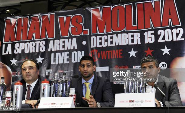 Boxer Amir Khan attends a press conference alongside his manager Asif Vali and Golden Boy's Richard Schaefer during the press conference at The...