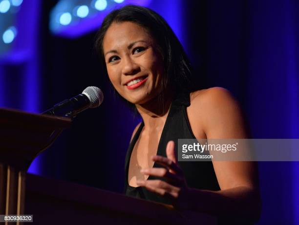 Boxer Ana Julaton introduces Lucia Rijker as she is inducted into the Nevada Boxing Hall of Fame at the fifth annual induction gala at Caesars Palace...