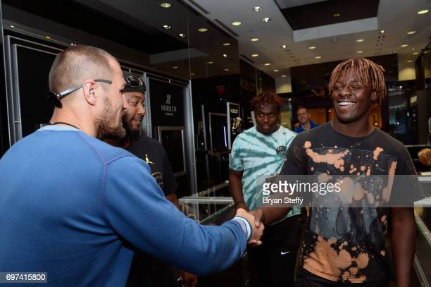 Boxer and Hublot ambassador Sergey Kovalev greets a fan during his visit to the Hublot Boutique at The Forum Shops at Caesars on June 18 2017 in Las...