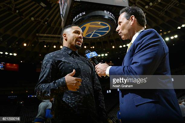 Boxer Andrew Ward is interviewed before the game between the Golden State Warriors and Oklahoma City Thunder on November 3 2016 at ORACLE Arena in...