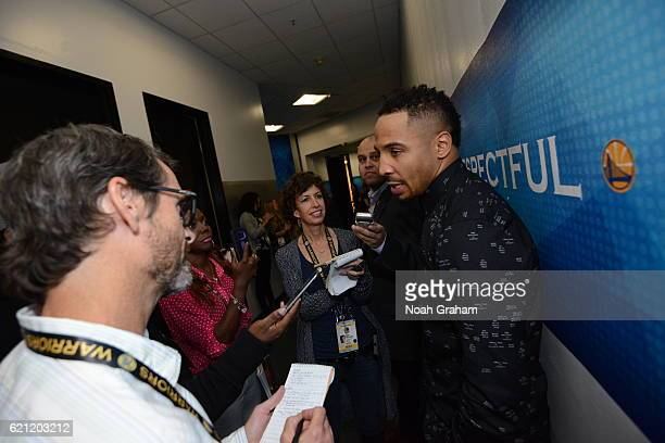 Boxer Andrew Ward talks with the meida before the game between the Golden State Warriors and the Oklahoma City Thunder on November 3 2016 at ORACLE...