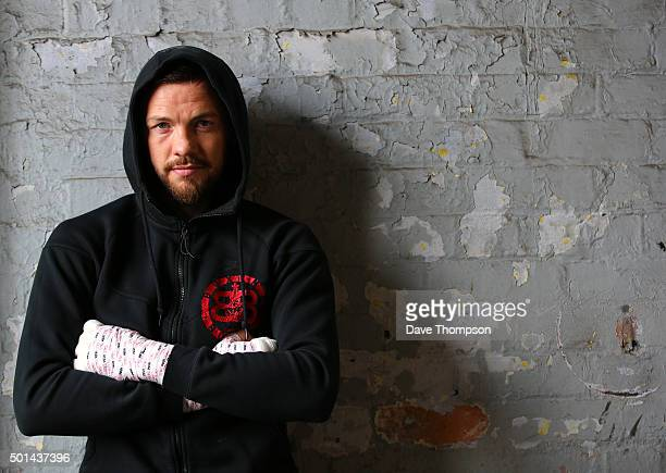 Boxer Andy Lee poses for a photograph prior to a media workout at Arnie's Gym on December 15 2015 in Manchester England Lee defends his World...