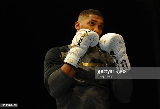 Boxer Anthony Joshua works out during Anthony Joshua And Joseph Parker Media Workouts at St David's Hall on March 28 2018 in Cardiff Wales