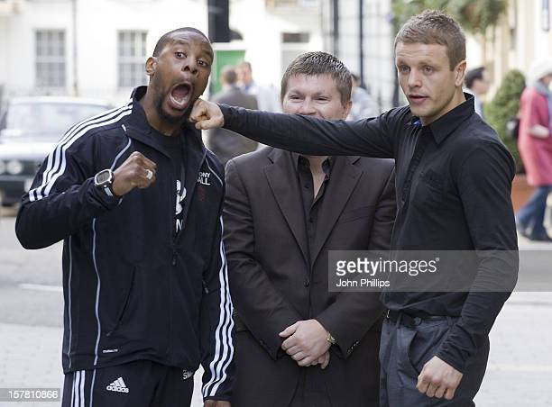 Boxer Anthony Small Boxing Promotor Ricky Hatton And Boxer Sam Webb Pose During A Press Conference At The Sportsman Casino London