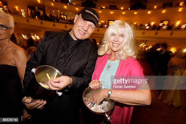 Boxer Axel Schulz and countess Gunilla von Bismarck are selling lots during the Unesco Benefit Gala For Children 2008 at Hotel Maritim on November 01...