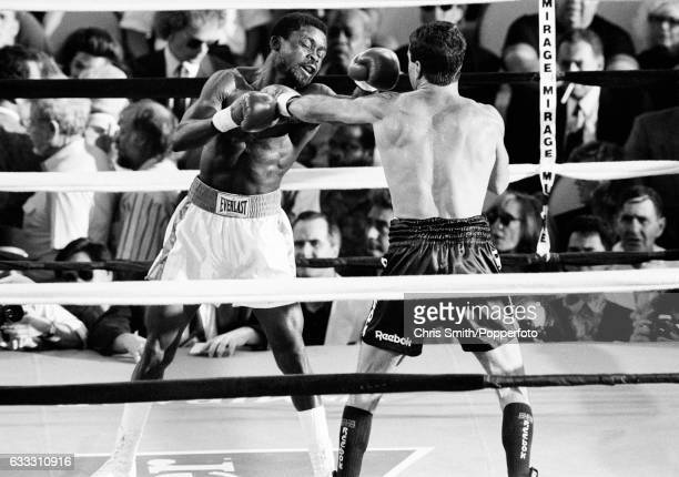 Boxer Azumah Nelson of Ghana in action against Jeff Fenech of Australia in Las Vegas on 28th June 1991 The bout ended in a draw on points