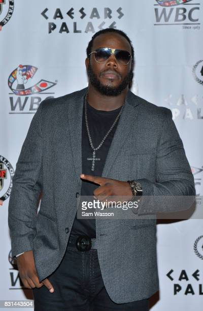 Boxer Bermane Stiverne arrives at the fifth annual Nevada Boxing Hall of Fame induction gala at Caesars Palace on August 12 2017 in Las Vegas Nevada