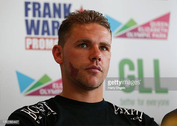 Boxer Billy Joe Saunders speaks during a press conference with boxing promoter Frank Warren at the London Legacy Development Corporation on June 10...