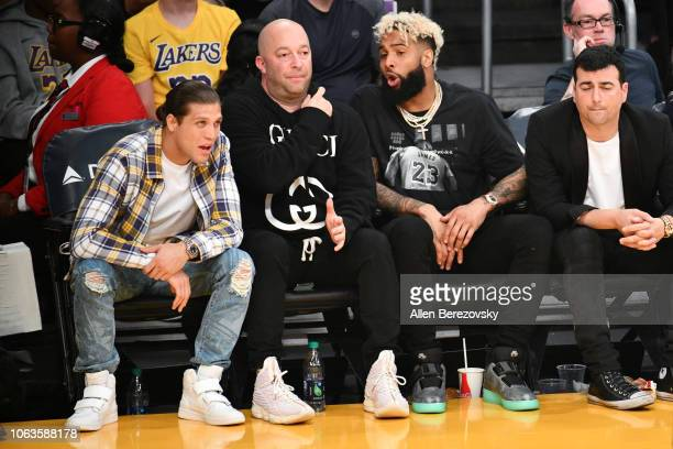 Boxer Brian Ortega and NFL player Odell Beckham Jr attend a basketball game between the Los Angeles Lakers and the Toronto Raptors at Staples Center...