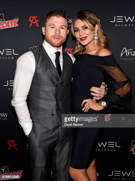 Boxer Canelo Alvarez and Fernanda Gomez arrive at his afterfight party at Jewel Nightclub at the Aria Resort Casino on May 6 2017 in Las Vegas Nevada