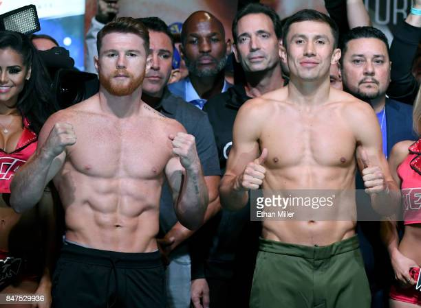Boxer Canelo Alvarez and WBC, WBA and IBF middleweight champion Gennady Golovkin pose during their official weigh-in at MGM Grand Garden Arena on...