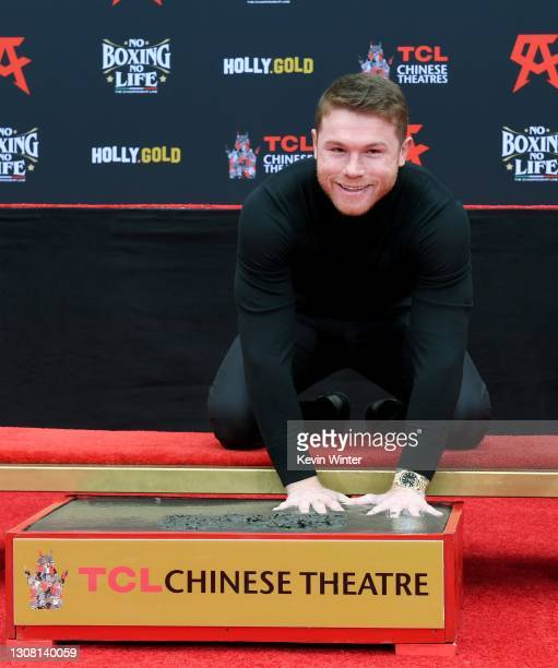 Boxer Canelo Alvarez gets his hand and footprints at TCL Chinese Theatre on March 20, 2021 in Hollywood, California.