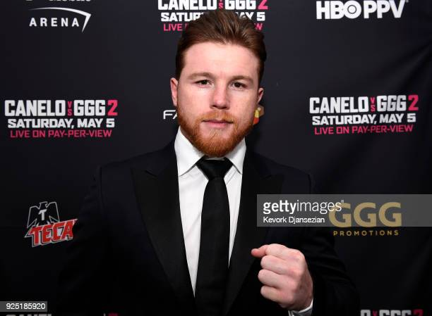 Boxer Canelo Alvarez poses during a news conference at Microsoft Theater at LA Live to announce the upcoming rematch against Gennady Golovkin on...
