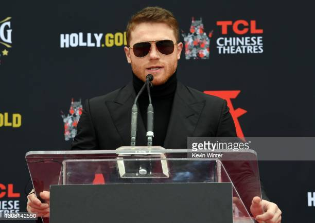 Boxer Canelo Alvarez speaks during his hand and footprint ceremony at TCL Chinese Theatre on March 20, 2021 in Hollywood, California.