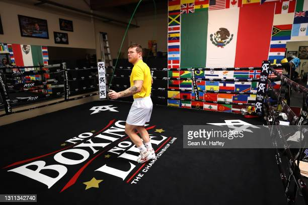 Boxer Canelo Àlvarez of Mexico jumps rope while training during media availability event on April 07, 2021 in San Diego, California. Àlvarez is...