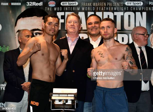 Boxer Carl Frampton faces Nonito Donaire during the weighin at Europa Hotel on April 20 2018 in Belfast Northern Ireland Frampton fights Donaire for...