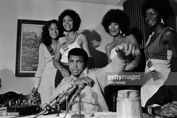 Boxer Cassius Muhammad Ali Clay gives a press conference before the historical fight against George Foremen in Kinshasa