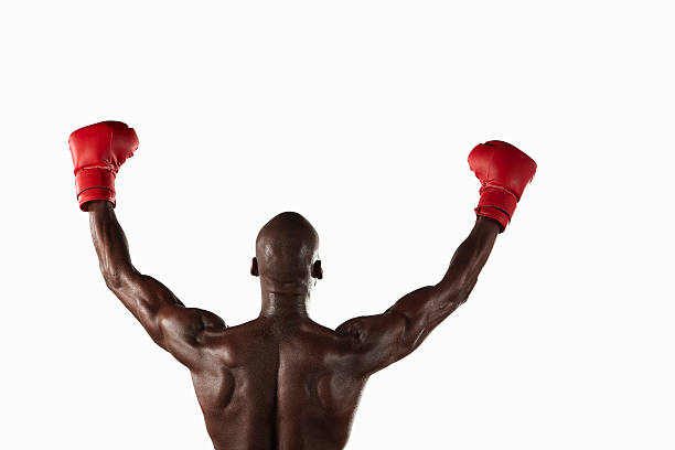 Boxer Cheering With Fists In Air Wall Art
