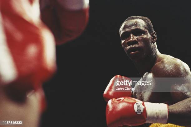Boxer Chris Eubank of Great Britain during WBO supermiddleweight title fight against Juan Carlos Gimenez on 28th November 1992 at GMex Centre...