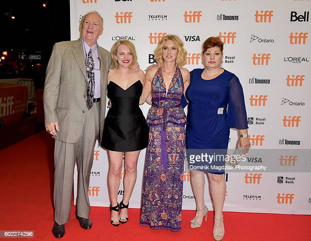 Boxer Chuck Wepner actresses Elisabeth Moss Naomi Watts and Linda Wepner attend 'The Bleeder' premiere during the 2016 Toronto International Film...