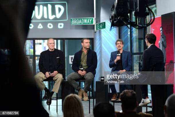 "Boxer Chuck Wepner, Liev Schreiber and director Philippe Falardeau attend the Build Series to discuss the film ""Chuck"" at Build Studio on April 28,..."