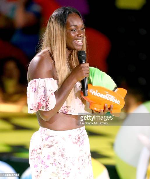 Boxer Claressa Shields accepts the award for Biggest Powerhouse onstage during Nickelodeon Kids' Choice Sports Awards 2017 at Pauley Pavilion on July...
