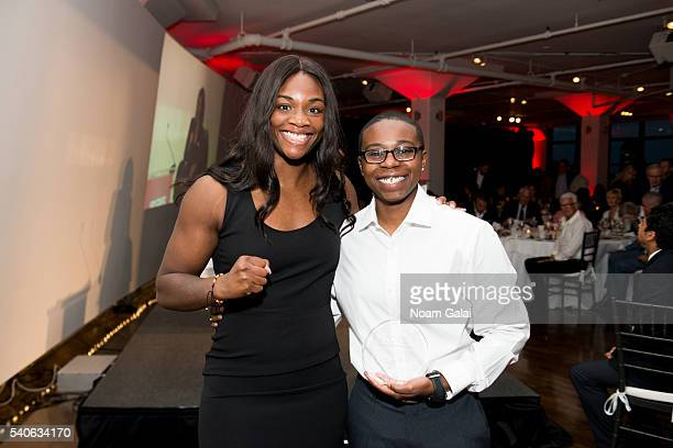 Boxer Claressa Shields and Tempest Bowden attend Up2Us Sports 2016 Gala on June 15 2016 in New York City