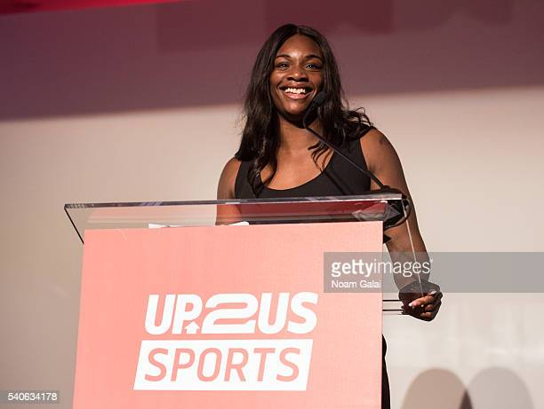 Boxer Claressa Shields speaks onstage at the Up2Us Sports 2016 Gala on June 15 2016 in New York City