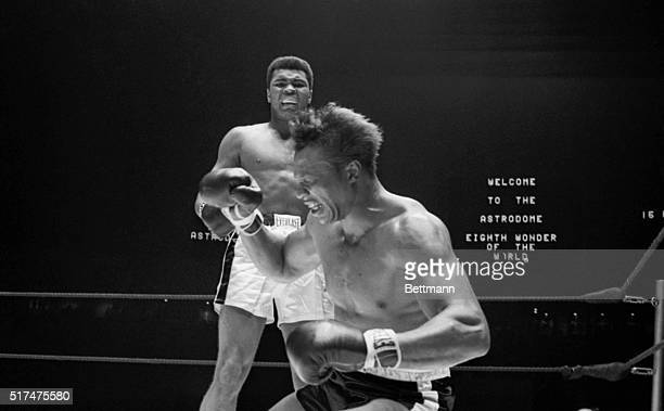 Boxer Cleveland Williams collapsing in the 3rd round of the 1966 fight with heavyweight champion Muhammad Ali Ali scored 3rd round TKO to retain the...