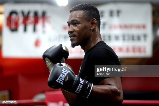 Boxer Daniel Jacobs works out during the Brooklyn Media Day at Gleason's Gym on October 26, 2017 in the Brooklyn borough of New York City.