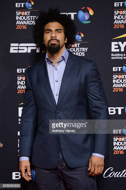 Boxer David Haye poses on the red carpet at the BT Sport Industry Awards 2016 at Battersea Evolution on April 28 2016 in London England The BT Sport...