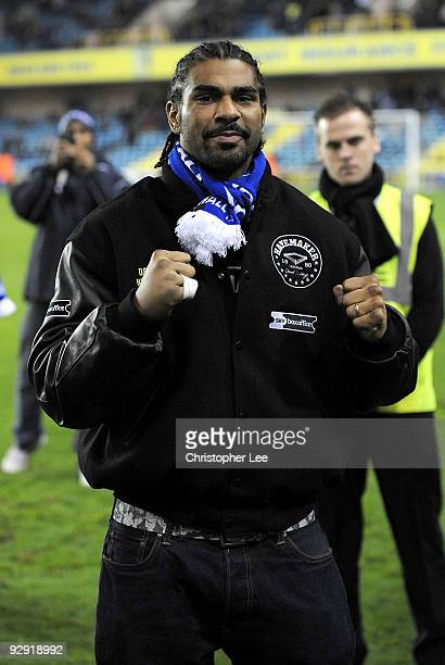 Boxer David Haye The new WBA world heavyweight champion walks out onto the pitch during the FA Cup 1st Round match between Millwall and AFC Wimbledon...