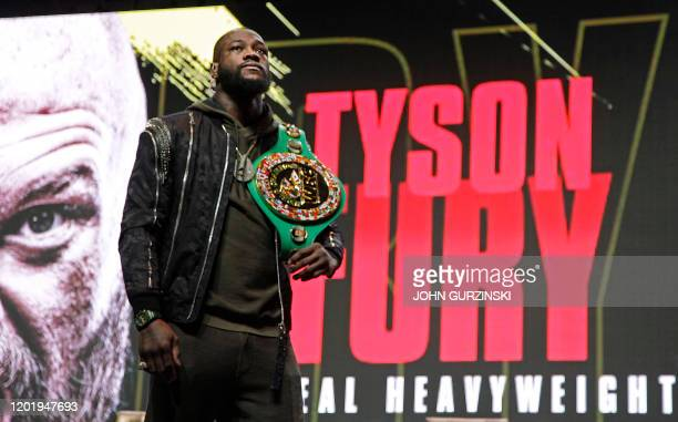 US boxer Deontay Wilder looks on during a press conference February 19 2020 at the MGM Grand Las Vegas in Las Vegas Nevada Wilder and British boxer...
