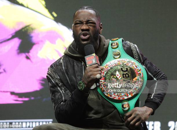 US boxer Deontay Wilder speaks during a press conference February 19 2020 at the MGM Grand Las Vegas in Las Vegas Nevada Wilder and British boxer...