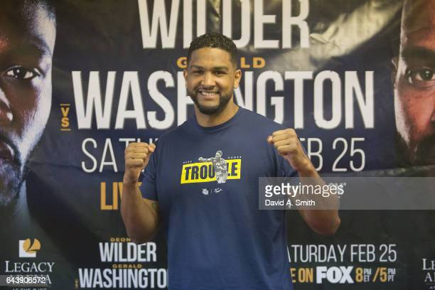 Boxer Dominic Breazeale participates in a media workout at Round 1 Boxing on February 22 2017 in Vestavia Hills Alabama