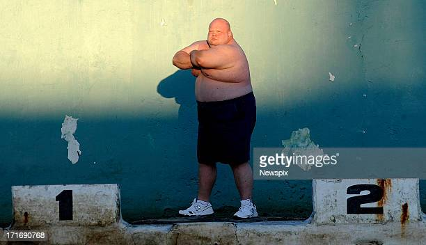 Boxer Eric 'Butterbean' Esch poses during a photo shoot on June 25 2013 in Newcastle Australia 'Butterbean' is in Australia for his superheavyweight...