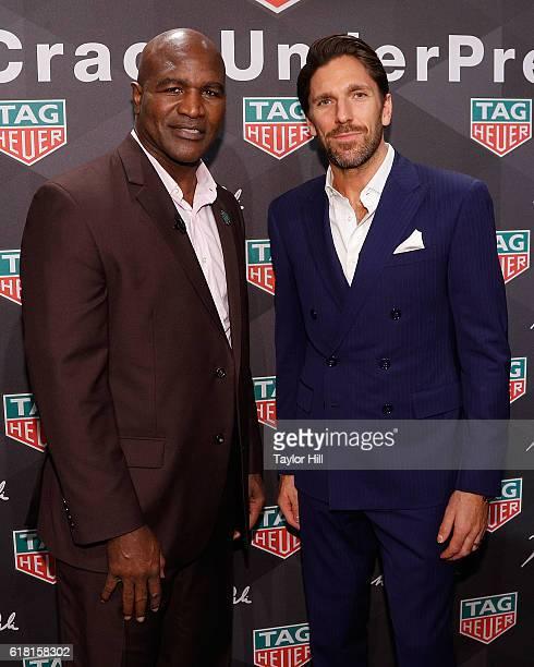 Boxer Evander Holyfield and New York Rangers goalie Henrik Lundqvist attend the TAG Heuer 'Don't Crack Under Pressure' Muhammad Ali tribute at...