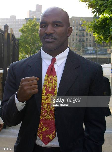 Boxer Evander Holyfield attends the National Black Sports and Entertainment Hall of Fame gala event August 29 2001 at Aaron Davis Hall of City...