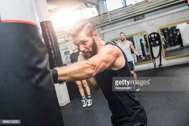 Boxer exercising at punch bag
