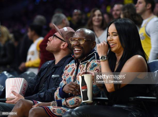 Boxer Floyd Joy Mayweather Jr attends the basketball game between the Golden State Warriors and Los Angeles Lakers where Laker legend Kobe Bryant's...
