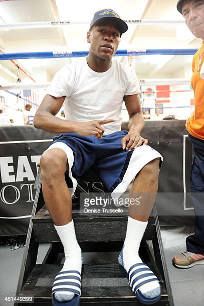 Boxer Floyd Mayweather and Raphael Garcia trains at Las Vegas Boxing Gym on June 11, 2009 in Las Vegas, Nevada.
