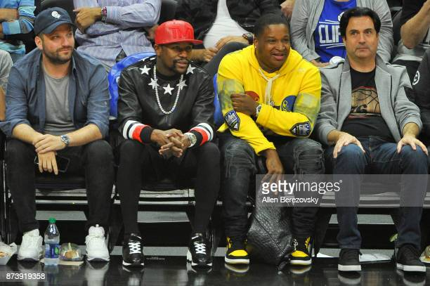 Boxer Floyd Mayweather attends a basketball game between the Los Angeles Clippers and the Philadelphia 76ers at Staples Center on November 13 2017 in...