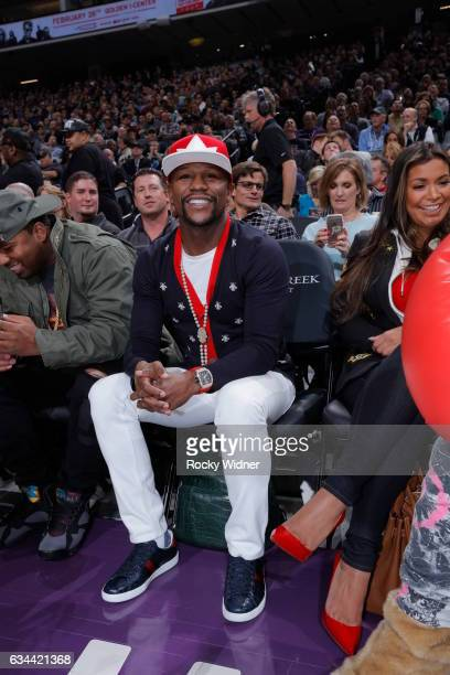 Boxer Floyd Mayweather attends the Boston Celtics game against the Sacramento Kings at Golden 1 Center on February 8 2017 in Sacramento California...