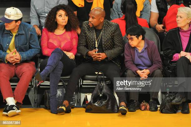 Boxer Floyd Mayweather Jr attends a basketball game between the Los Angeles Lakers and the Los Angeles Clippers at Staples Center on October 19 2017...