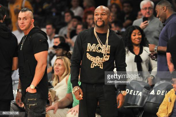 Boxer Floyd Mayweather Jr attends a basketball game between the Los Angeles Lakers and the New Orleans Pelicans at Staples Center on October 22 2017...