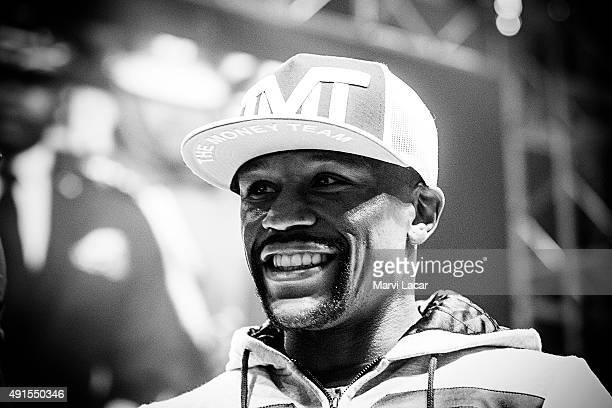 Boxer Floyd Mayweather Jr attends an arrival event at MGM Grand hotel and casino on April 28 in Las Vegas Nevada before his fight against Manny...