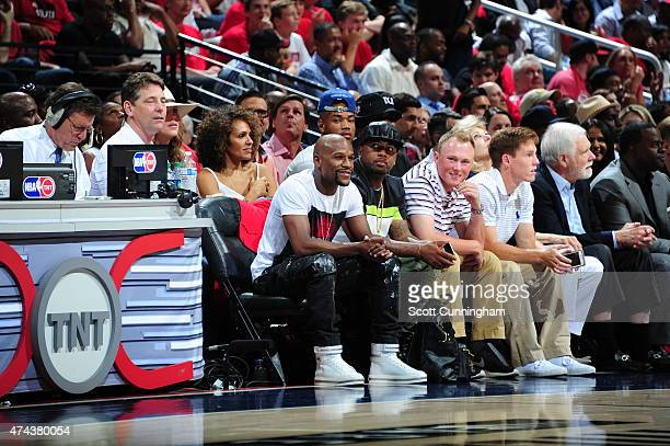 Boxer Floyd Mayweather Jr attends the Cleveland Cavaliers and the Atlanta Hawks Game One of the Western Conference Finals during the NBA Playoffs on...